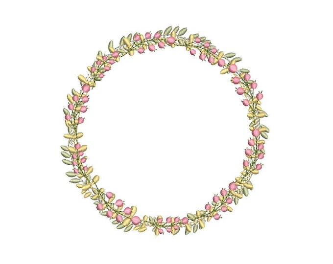 Vintage Wreath Embroidery -  Wreath Machine Embroidery File design - 5x7 inch hoop - instant download