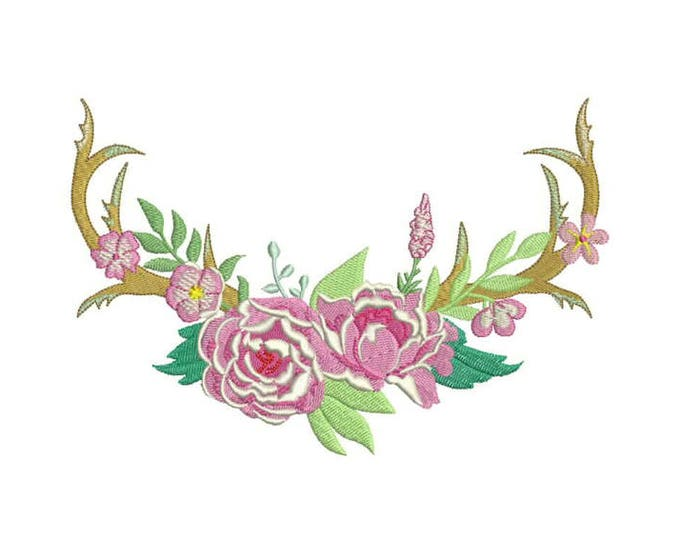 Boho Floral Open Antlers Machine Embroidery File design 8x12 inch hoop Flower Antlers