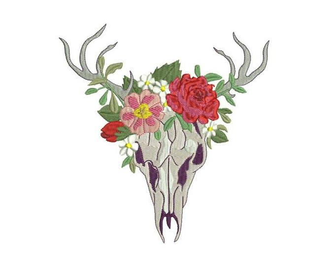 Boho Gypsy Flower Crown Skull Bohemian Machine Embroidery File design 6x10 hoop