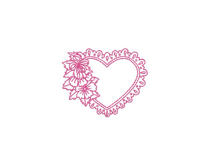 Valentines Heart Lace Frame Machine Embroidery File design -  4 x 4 inch hoop - Heart embroidery design