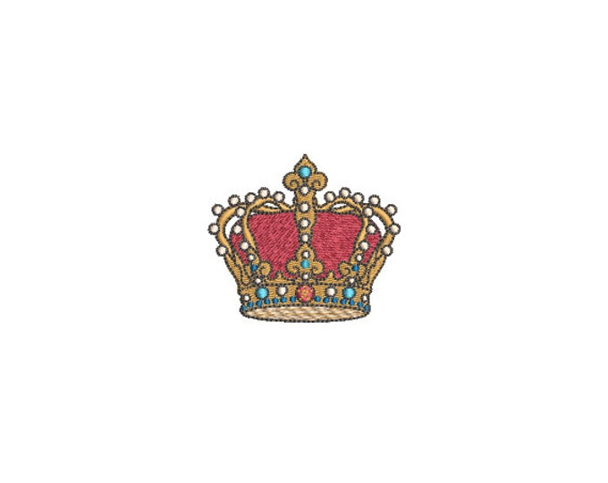 Ruby Gold Crown Machine Embroidery File design - 6cm Mini -  4x4 inch or 10cm x 10cm hoop - embroidered patch design