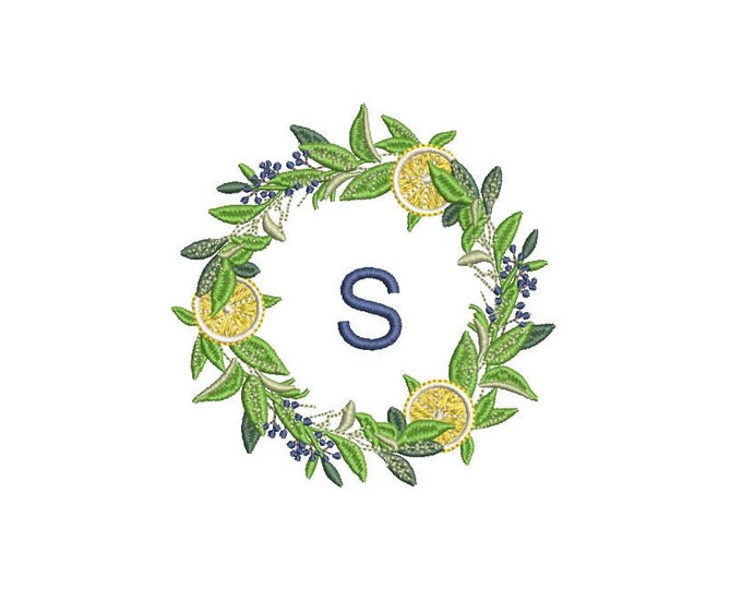 Lemon Wreath Embroidery - Machine Embroidery File - design 4x4 inch hoop - Monogram frame