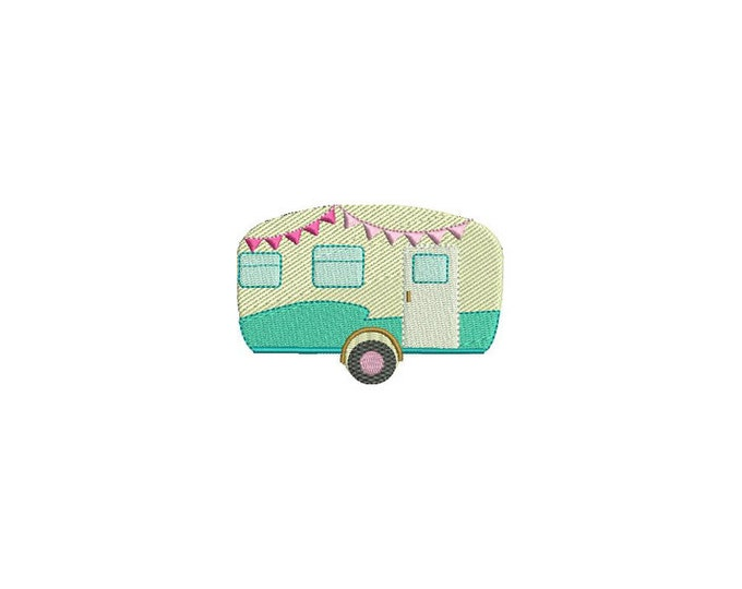 Camper Embroidery Design - Machine Embroidery Retro Vintage Caravan Camper Embroidery File design 4 x 4 inch hoop 10cm x10cm