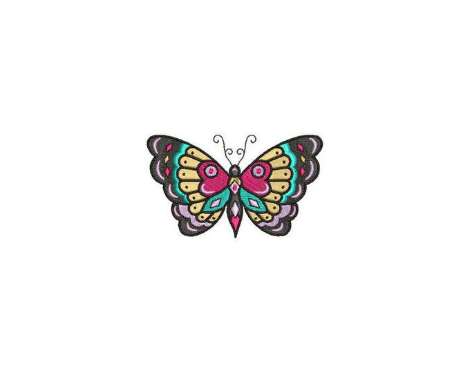 Butterfly Machine Embroidery File design 4x4 inch hoop - Retro  Tattoo