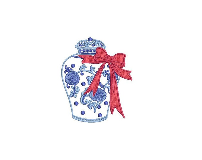 Chinoiserie Chic - Little Ginger Jar With Bow - Machine Embroidery File design - 4x4 hoop