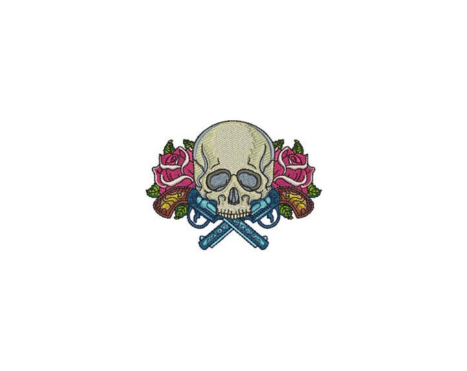 Skull Embroidery - Boho Gypsy Skull Guns Roses Bohemian Machine Embroidery File design 4x4 inch hoop