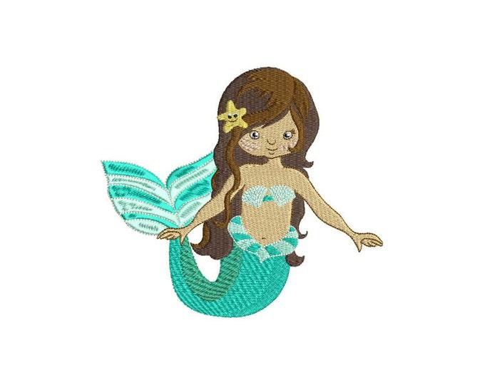 Mermaid Embroidery - Machine Embroidery Boho Beautiful Mermaid Machine Embroidery File design 6x10 inch or 16x26cm hoop