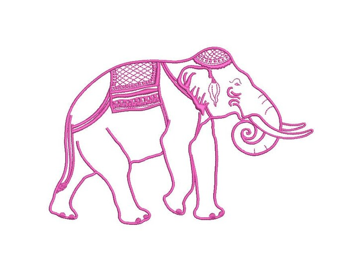 Chinoiserie Chic Indian Elephant - Machine Embroidery File design  - 5x7 hoop