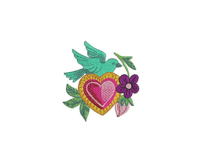 Bird & Heart Mexican Folksy Machine Embroidery File design 4 x 4 inch hoop - instant download
