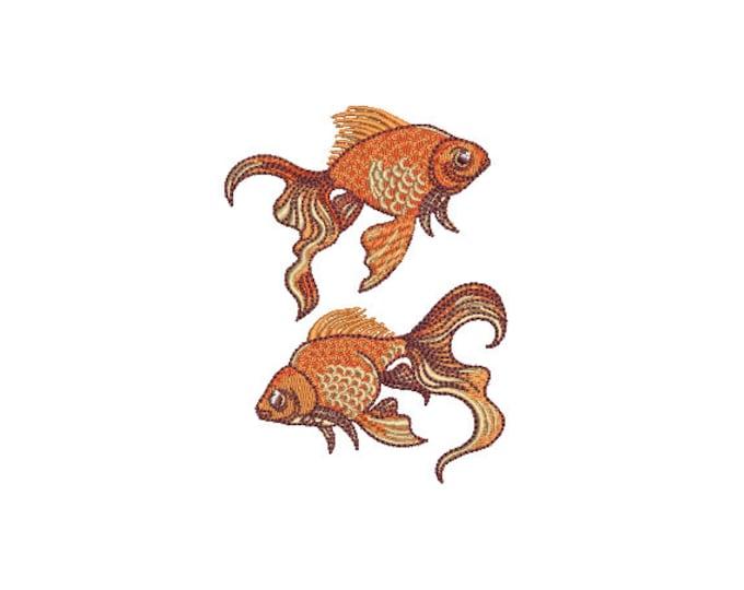 Goldfish Machine Embroidery File design - 4x4 inch hoop - Fish Design - Gold Fish Embroidery