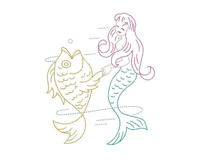 Mermaid & Fish Machine Embroidery File design - 5x7 hoop -  instant download