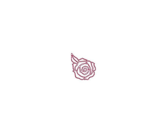 Mini Sketch Rose Outline Machine Embroidery File design - 4 x 4 inch hoop - Rosette - dad cap design - mini rose design