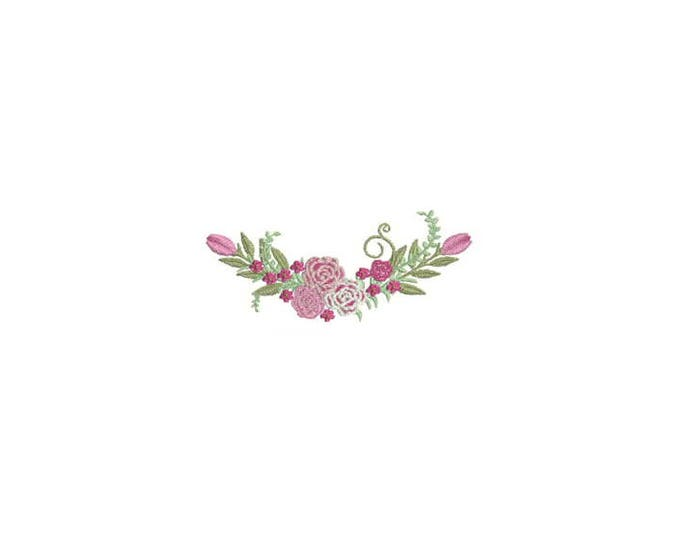 Machine Embroidery Roses Wreath Machine Embroidery File design 4 x 4 inch hoop