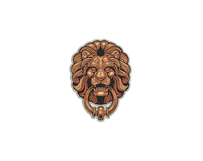 Lion Face Knocker Embroidery - Urban Modern Lion Machine Embroidery File design - 4x4 inch hoop