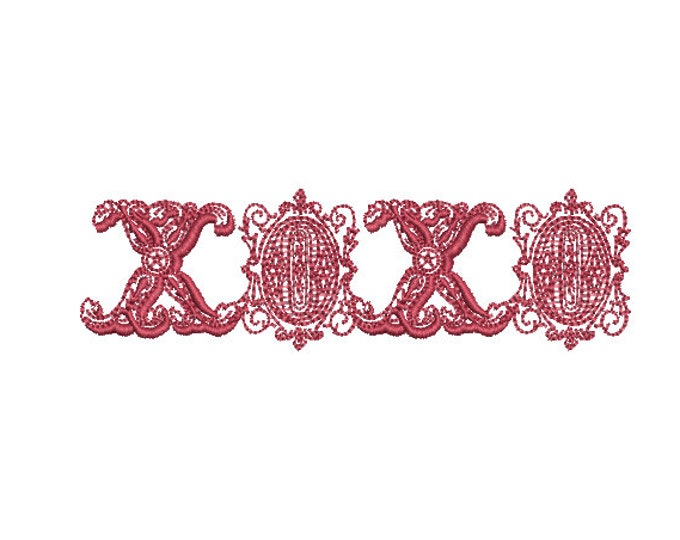 XOXO Embroidery -  Machine Embroidery File design - 4x4 inch - valentines embroidery design -kisses embroidery
