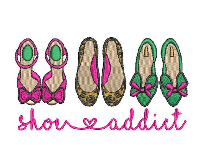 Shoe Addict Machine Embroidery File design - 5x7 hoop - instant download - embroidered shoes