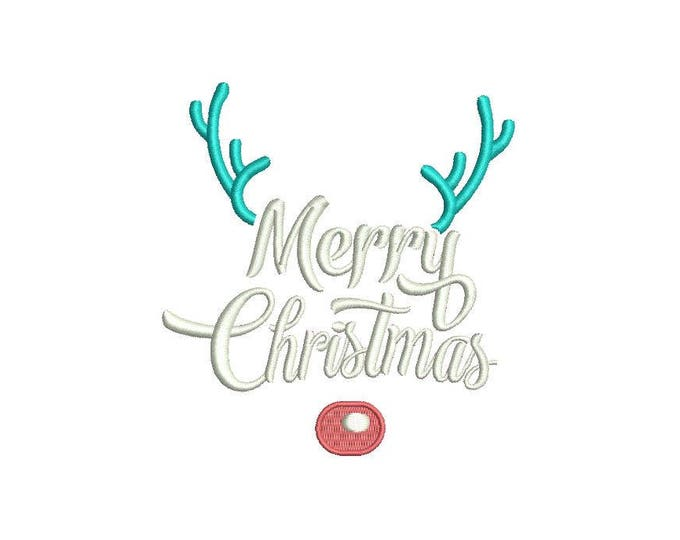 Merry Christmas Rudolph Embroidery - Reindeer Deer Silhouette Machine Embroidery File design 4x4 inch hoop