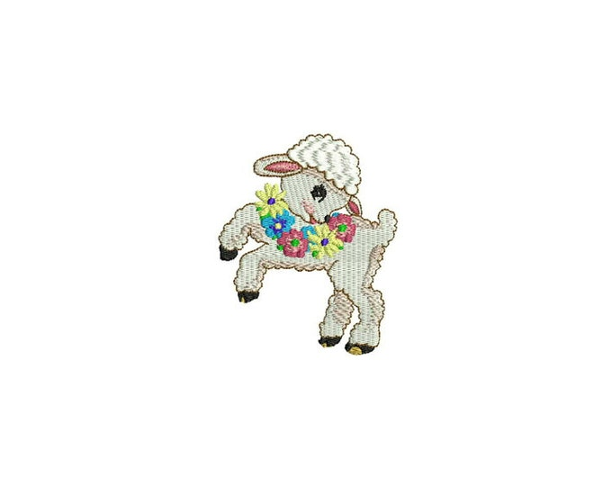 Whimsical Vintage Lamb with Flowers Machine Embroidery File design 4x4 inch hoop