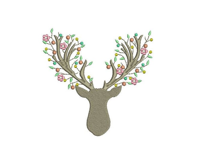 Machine Embroidery Boho Deer Antlers With Flowers Bohemian Machine Embroidery File design 5x7 hoop