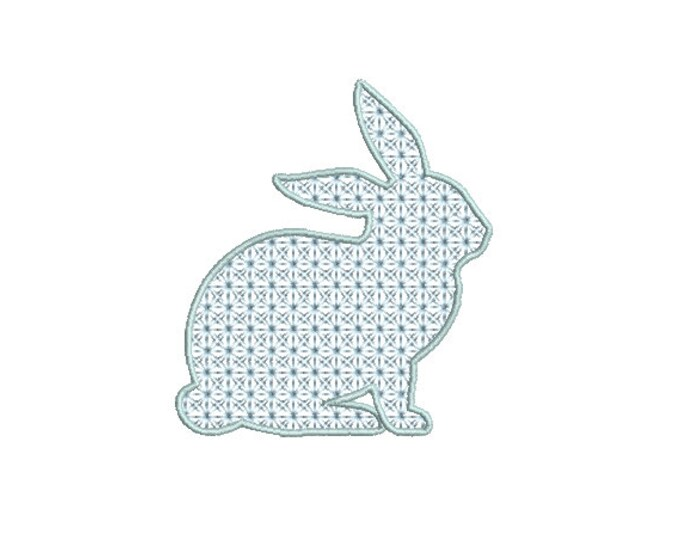 Bunny Fancy Fill Stitch  - Machine Embroidery File design 4 x 4 inch hoop - Easter Embroidery Design