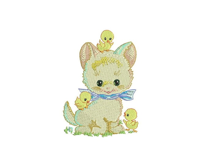 ITH Whimsical Kitty & Chicks Machine Embroidery File design 5x7 inch hoop - in the hoop applique