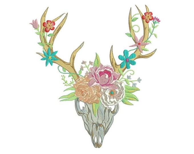 Boho Flower Crown Skull Bohemian Machine Embroidery File design 20x 30cm 8x12 inch hoop