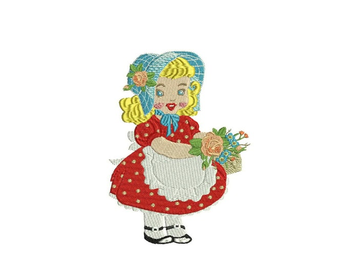 ITH Whimsical Vintage Red Dress Bonnet Girl Machine Embroidery File design 5x7 inch hoop - in the hoop applique