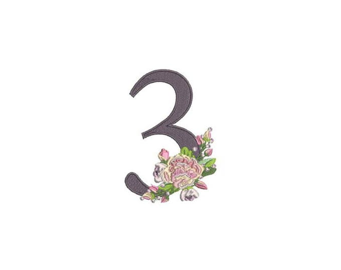 Number 3 - THREE - Bouquet - THREE Birthday-  Machine Embroidery File design - 4x4 hoop - embroidery design