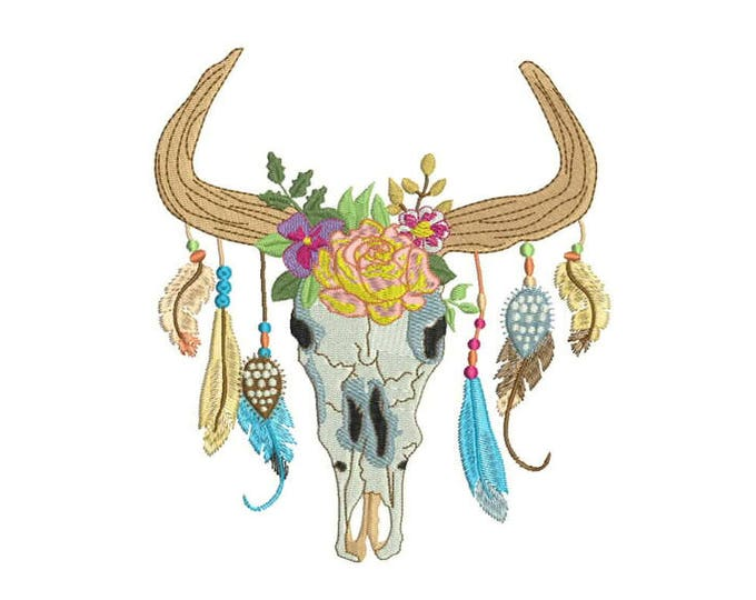 Machine Embroidery Boho Gypsy Skull With Feathers Bohemian Machine Embroidery File 6x10 hoop