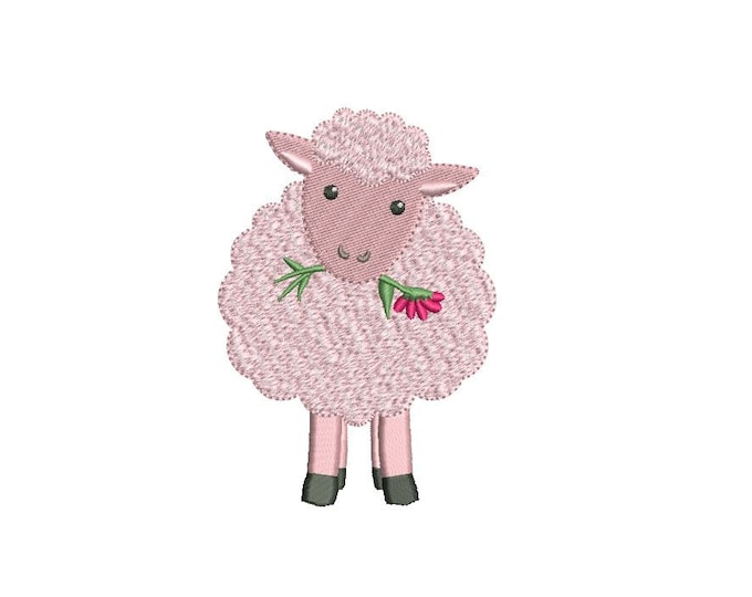 Pink Sheep -  Machine Embroidery File design -  4x4 inch hoop - lamb - instant download - baby girl design