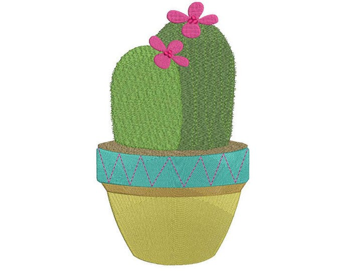 Succulent Cactus 2 Machine Embroidery File design 6x10 inch hoop - Makes a great Patch - Instant download