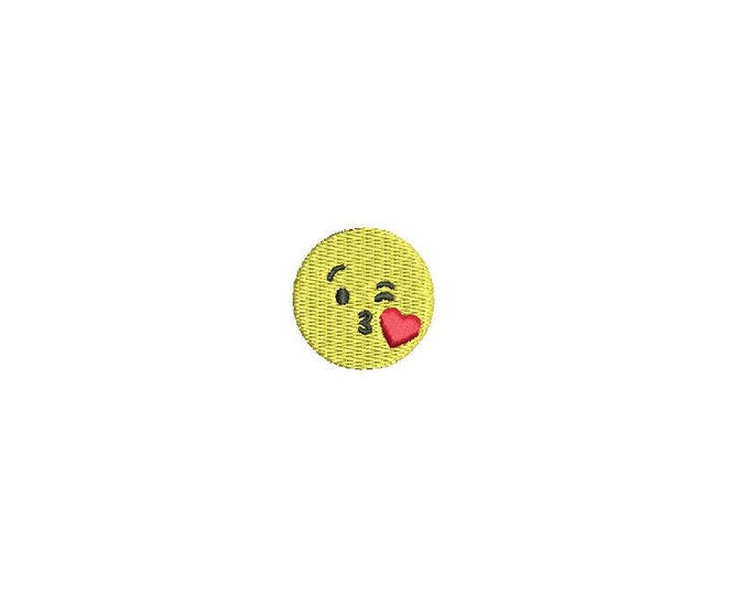Machine Embroidery Kiss Emoji Mini 3cm Embroidery File design 4x4 hoop - Instant download
