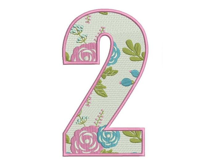 Number 2 - TWO - Floral - Second Birthday-  Machine Embroidery File design - 5x7 hoop - embroidery design