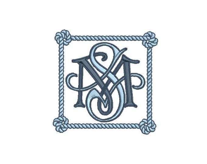Square Rope Knot Monogram Frame -  Machine Embroidery File design -  4x4 hoop - Square Border Frame
