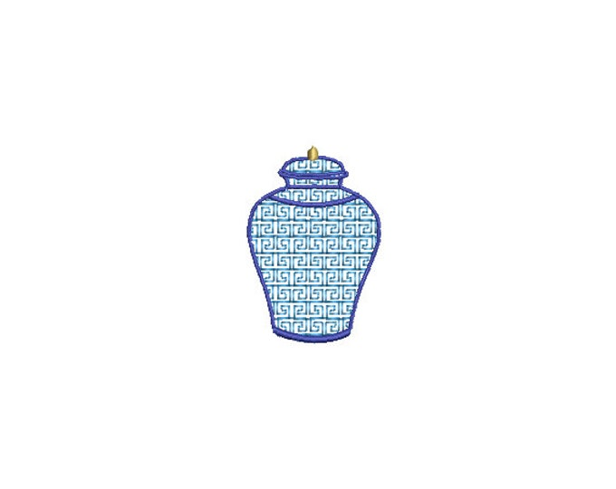 Greek Key Embroidery Jar - Filled Machine Embroidery File design  - 4x4 hoop - Mini Embroidery Design