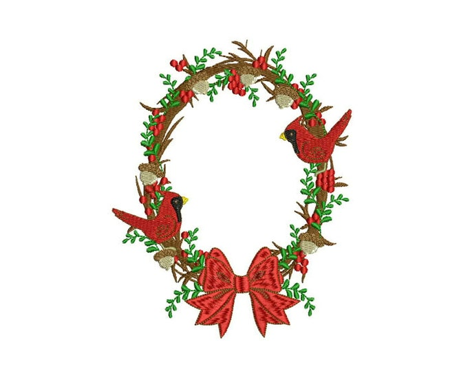 Cardinal Christmas Bow Flower Wreath Machine Embroidery File design 5x7 inch hoop - instant download