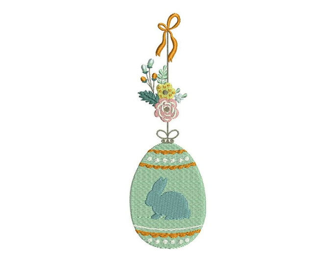 Hanging Easter Bunny Ornament Machine Embroidery File design 5x7 inch hoop - Instant download
