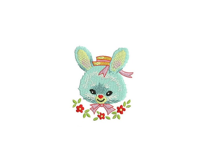 Vintage Bunny Machine Embroidery File design 4x4 inch hoop - instant download