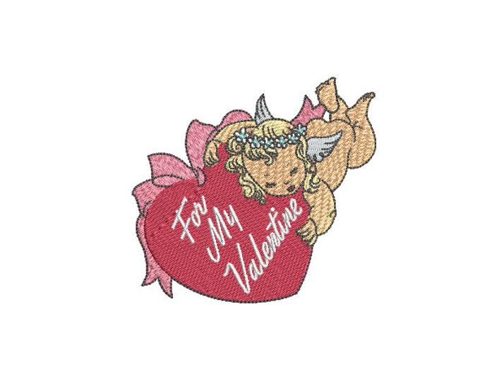 For My Valentine Machine Embroidery File design - 4x4 inch - valentines embroidery design - Heart embroidery