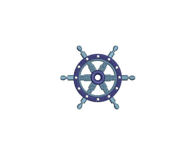 Ships Wheel Nautical Machine Embroidery File design 4x4 inch hoop - Silhouette Boat