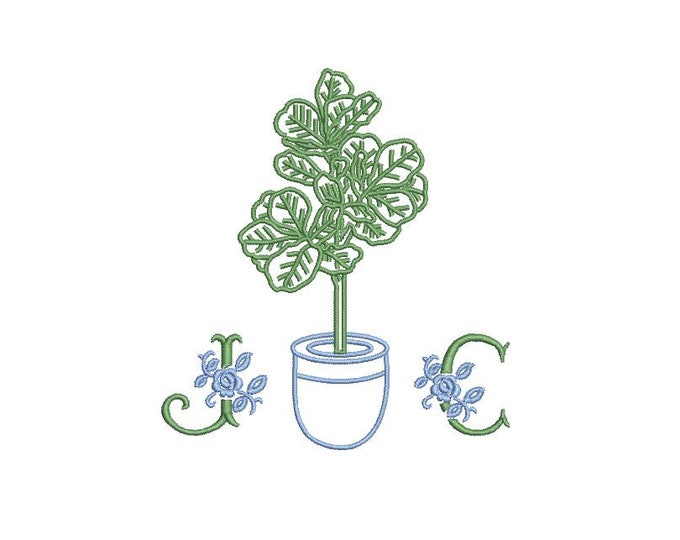 Fiddle Leaf Embroidery - Hamptons Pot Plant - Machine Embroidery File design - 4 x 4 inch hoop - Instant Download