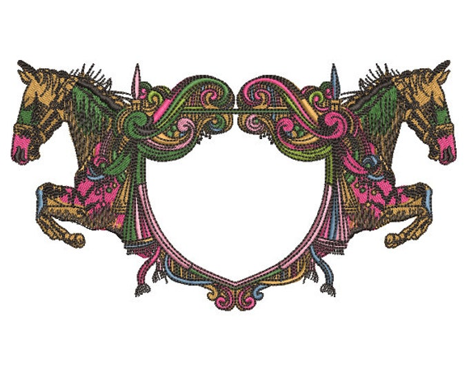 Decorative Horse Monogram Frame - 5x7 inch or 13x18cm hoop - Machine Embroidery - Digital Download