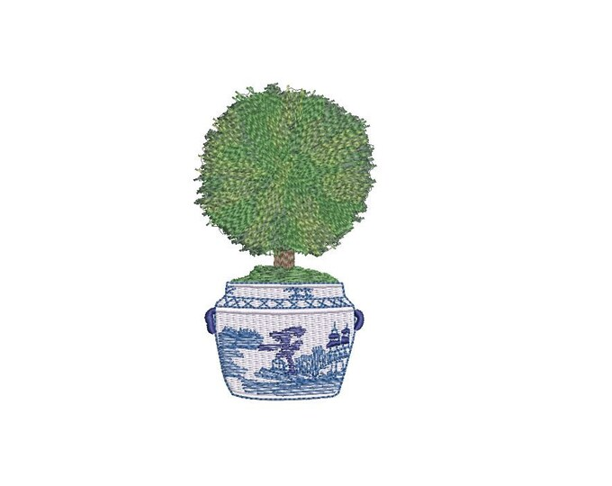 Chinoiserie Boxwood Topiary Embroidery - Hamptons Pot Plant - Machine Embroidery File design - 4 x 4 inch hoop - Instant Download