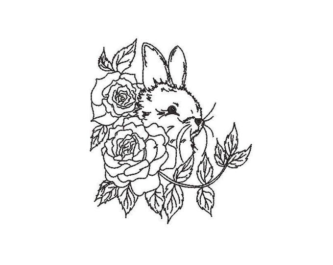 Bunny & Roses Machine Embroidery File design 4x4 hoop - Redwork 10 cm hoop