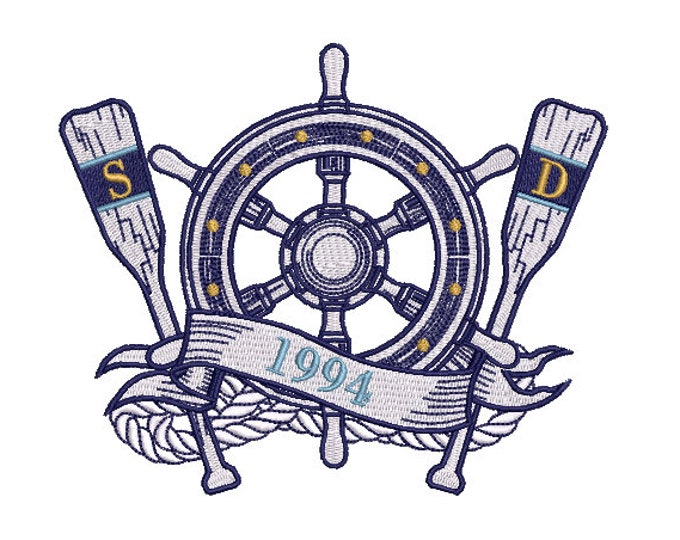 Nautical Ship Wheel Oars Machine Embroidery File design - 5x7 inch hoop -  instant download