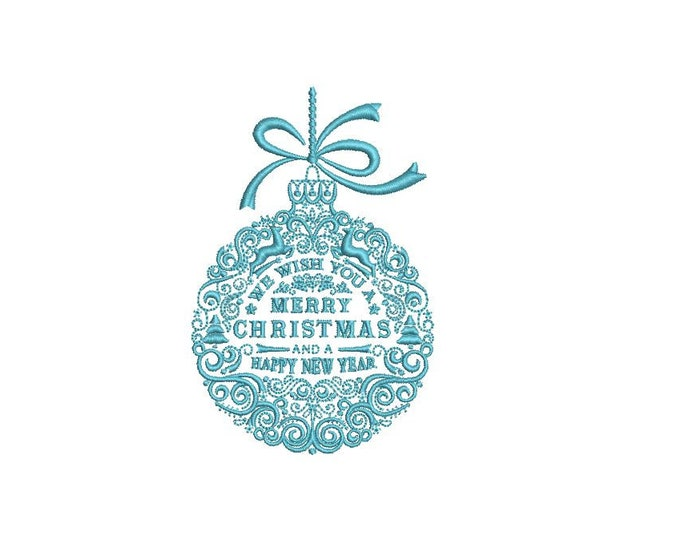 Merry Christmas  Ornament Embroidery -  Machine Embroidery File design - 4x4 inch hoop - 1 colour embroidery design