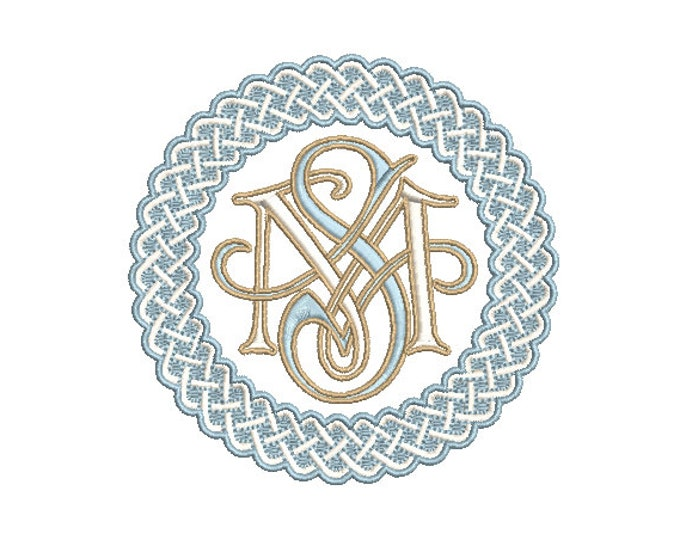Basket Weave Round Monogram Frame -  Machine Embroidery File design -  4x4 hoop - Round Border Frame