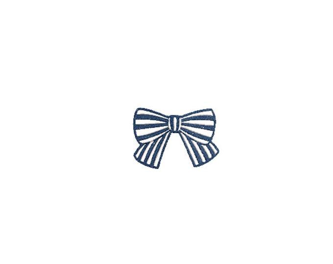 Small Stripe Bow Machine Embroidery File design - Hamptons Style - Monogram Design