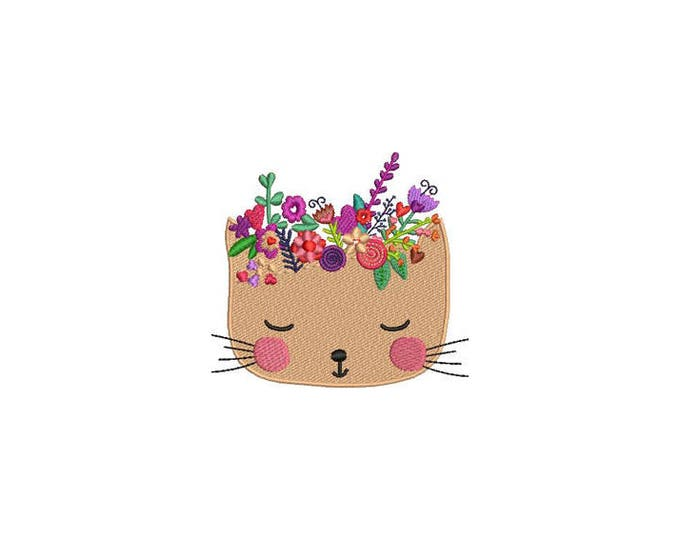 Machine Embroidery Kitty with Flowers Crown Machine Embroidery File design 4 x 4 inch hoop