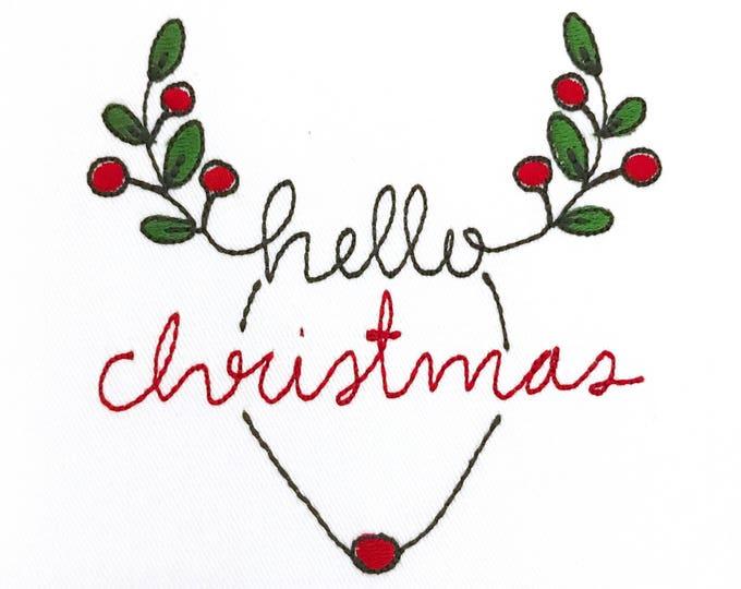 Hello Christmas Rudolph Reindeer Deer Silhouette Machine Embroidery File design 4x4 inch hoop